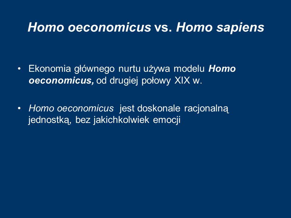 Homo oeconomicus vs. Homo sapiens Ekonomia głównego nurtu używa modelu Homo oeconomicus, od drugiej połowy XIX w. Homo oeconomicus jest doskonale racj
