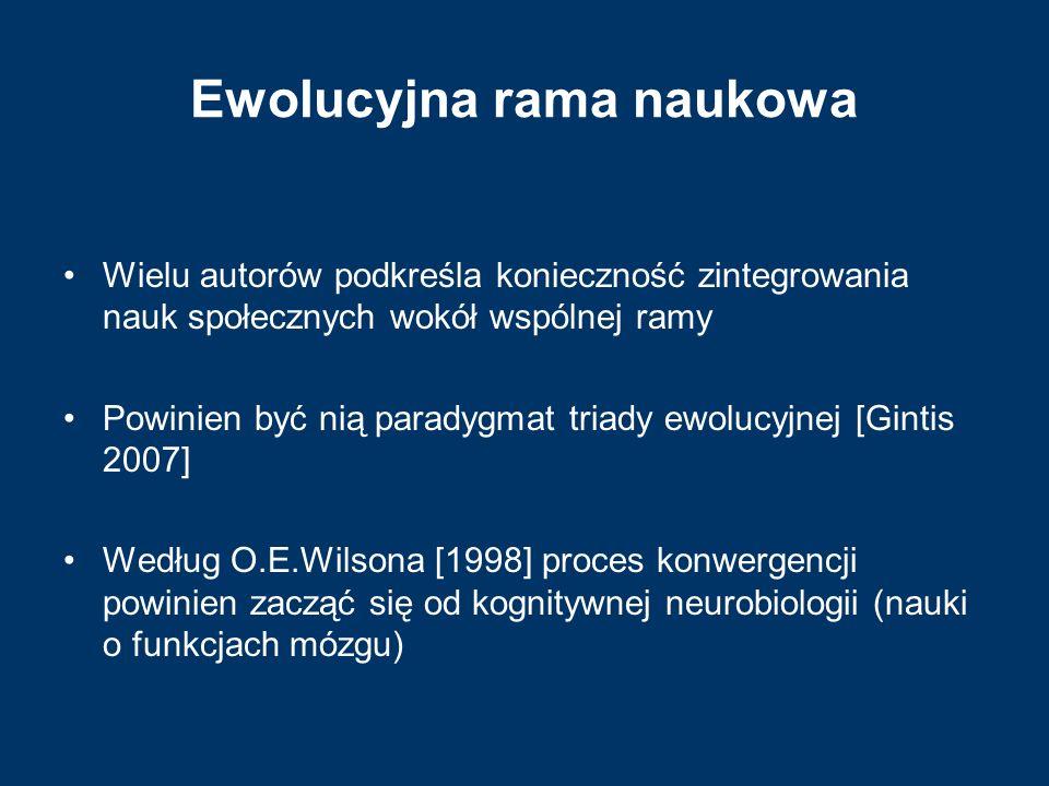 Ewolucyjna rama naukowa Wielu autorów podkreśla konieczność zintegrowania nauk społecznych wokół wspólnej ramy Powinien być nią paradygmat triady ewol