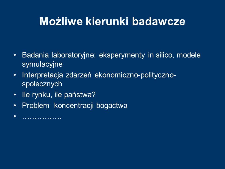 Możliwe kierunki badawcze Badania laboratoryjne: eksperymenty in silico, modele symulacyjne Interpretacja zdarzeń ekonomiczno-polityczno- społecznych