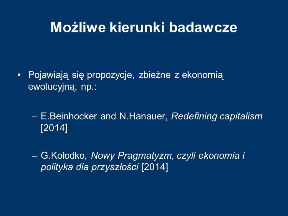 Możliwe kierunki badawcze Pojawiają się propozycje, zbieżne z ekonomią ewolucyjną, np.: –E.Beinhocker and N.Hanauer, Redefining capitalism [2014] –G.K