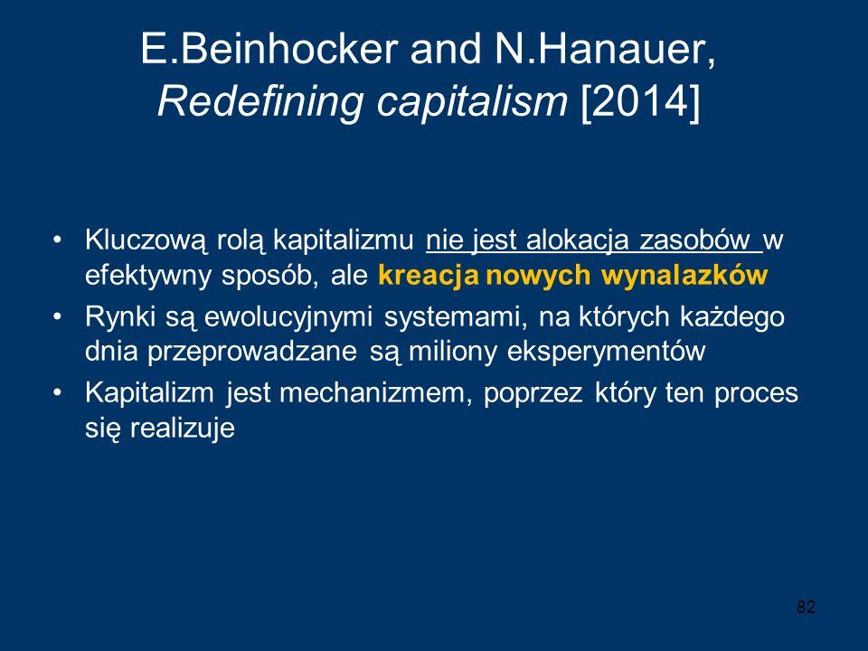 E.Beinhocker and N.Hanauer, Redefining capitalism [2014] Kluczową rolą kapitalizmu nie jest alokacja zasobów w efektywny sposób, ale kreacja nowych wy