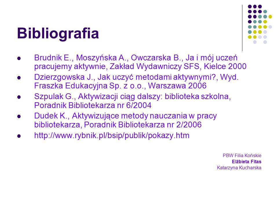 Bibliografia Brudnik E., Moszyńska A., Owczarska B., Ja i mój uczeń pracujemy aktywnie, Zakład Wydawniczy SFS, Kielce 2000 Dzierzgowska J., Jak uczyć