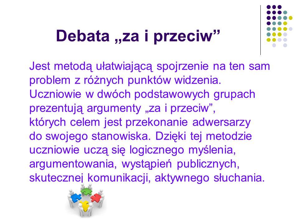 """Debata """"za i przeciw"""" Jest metodą ułatwiającą spojrzenie na ten sam problem z różnych punktów widzenia. Uczniowie w dwóch podstawowych grupach prezent"""