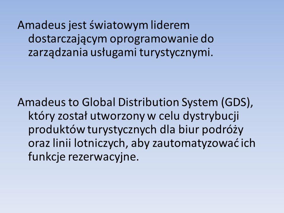 Amadeus jest światowym liderem dostarczającym oprogramowanie do zarządzania usługami turystycznymi. Amadeus to Global Distribution System (GDS), który