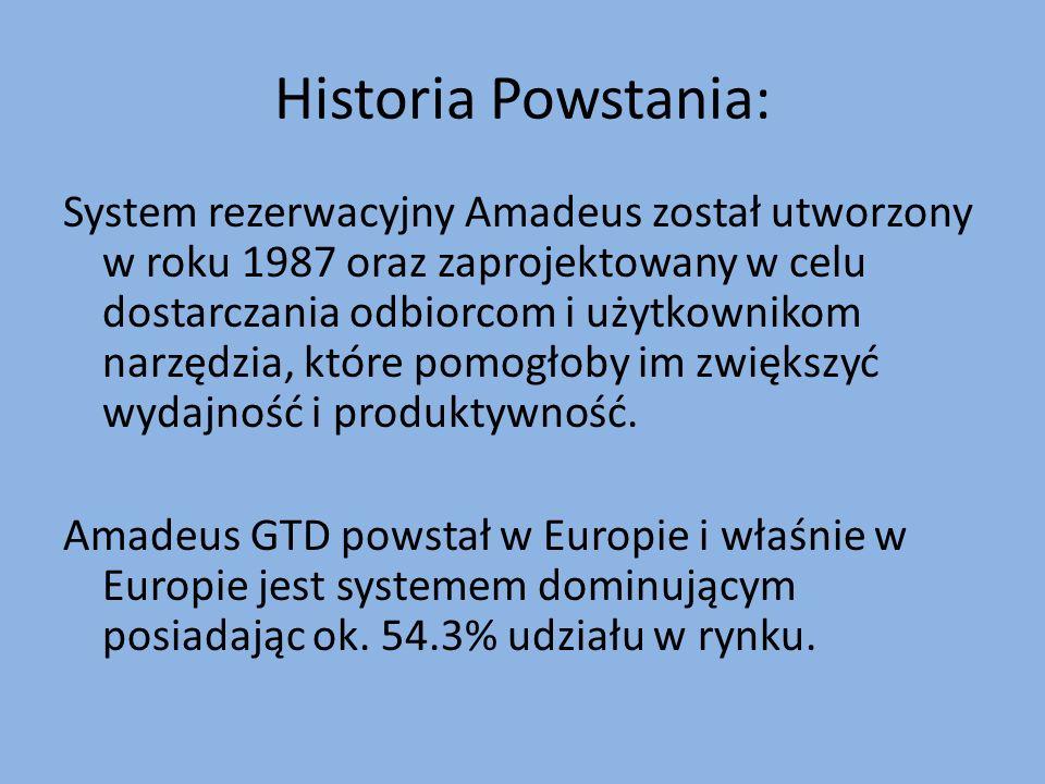 Historia Powstania: System rezerwacyjny Amadeus został utworzony w roku 1987 oraz zaprojektowany w celu dostarczania odbiorcom i użytkownikom narzędzi