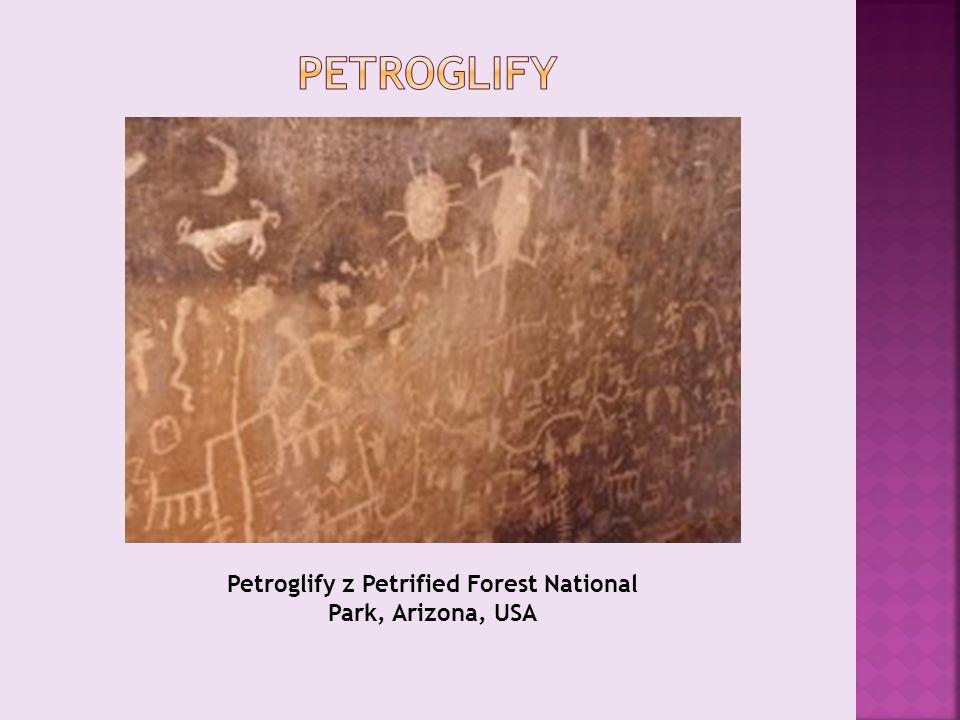 Petroglify z Petrified Forest National Park, Arizona, USA