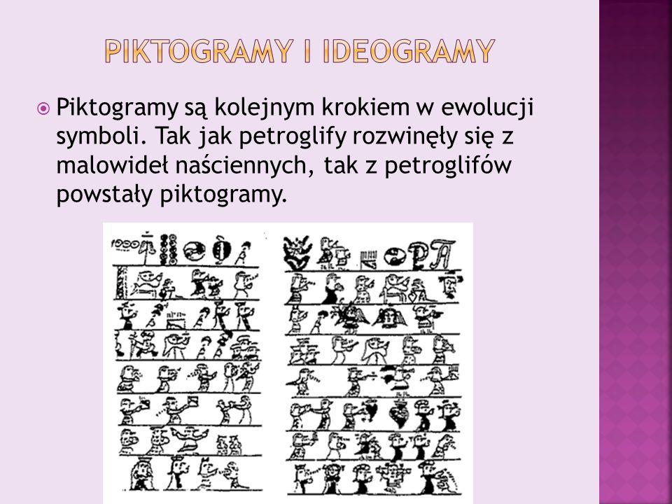  Piktogramy są kolejnym krokiem w ewolucji symboli. Tak jak petroglify rozwinęły się z malowideł naściennych, tak z petroglifów powstały piktogramy.