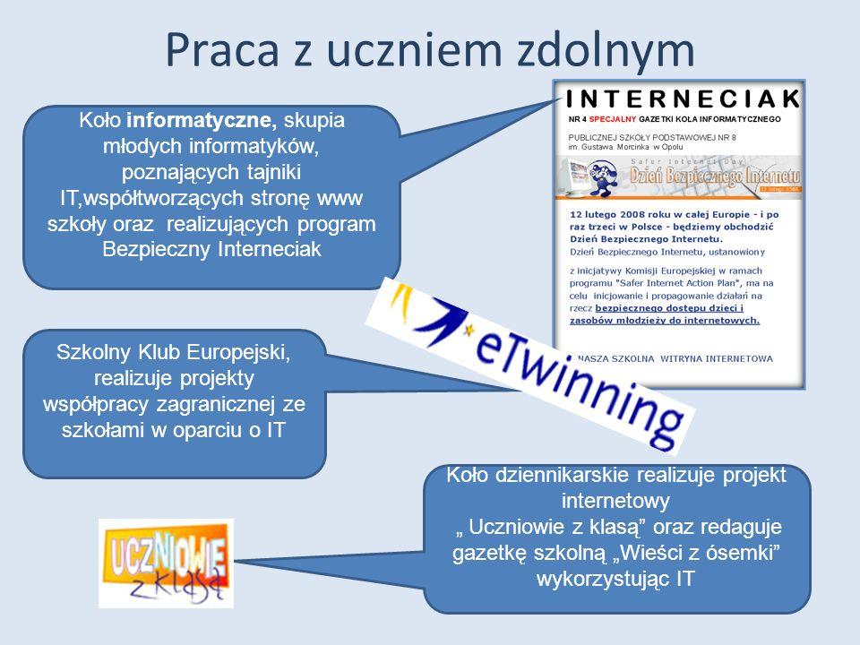 Praca z uczniem zdolnym Koło informatyczne, skupia młodych informatyków, poznających tajniki IT,współtworzących stronę www szkoły oraz realizujących p