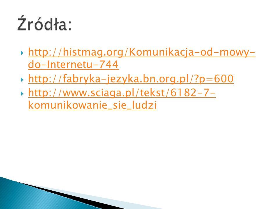  http://histmag.org/Komunikacja-od-mowy- do-Internetu-744 http://histmag.org/Komunikacja-od-mowy- do-Internetu-744  http://fabryka-jezyka.bn.org.pl/