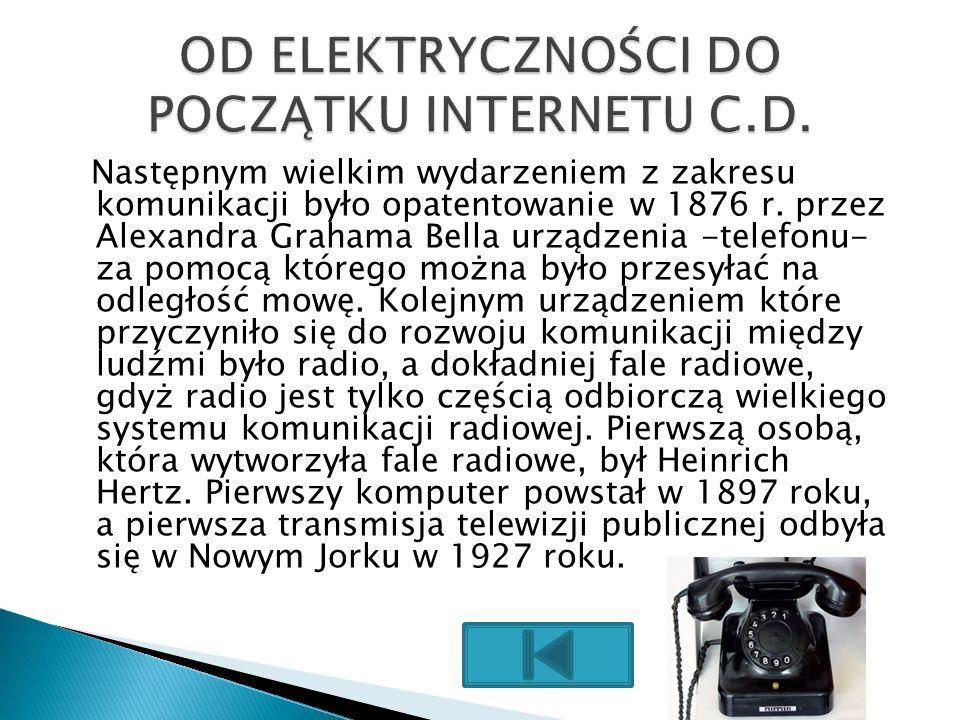 Następnym wielkim wydarzeniem z zakresu komunikacji było opatentowanie w 1876 r. przez Alexandra Grahama Bella urządzenia -telefonu- za pomocą którego