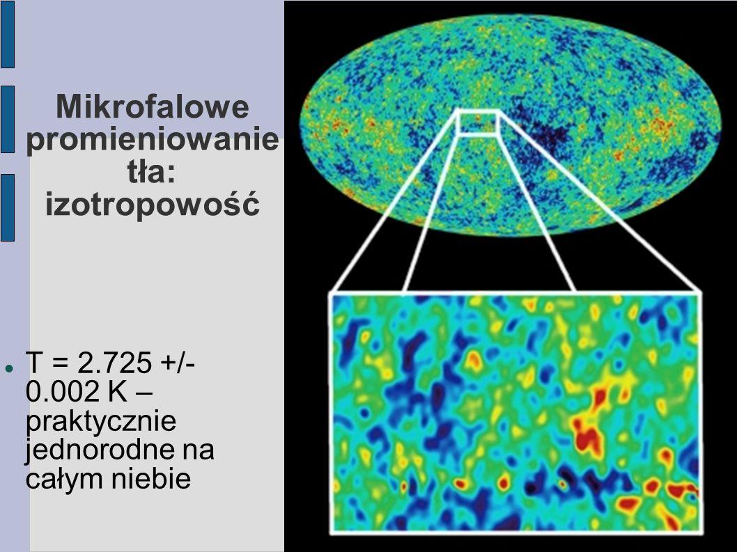 Mikrofalowe promieniowanie tła: izotropowość T = 2.725 +/- 0.002 K – praktycznie jednorodne na całym niebie