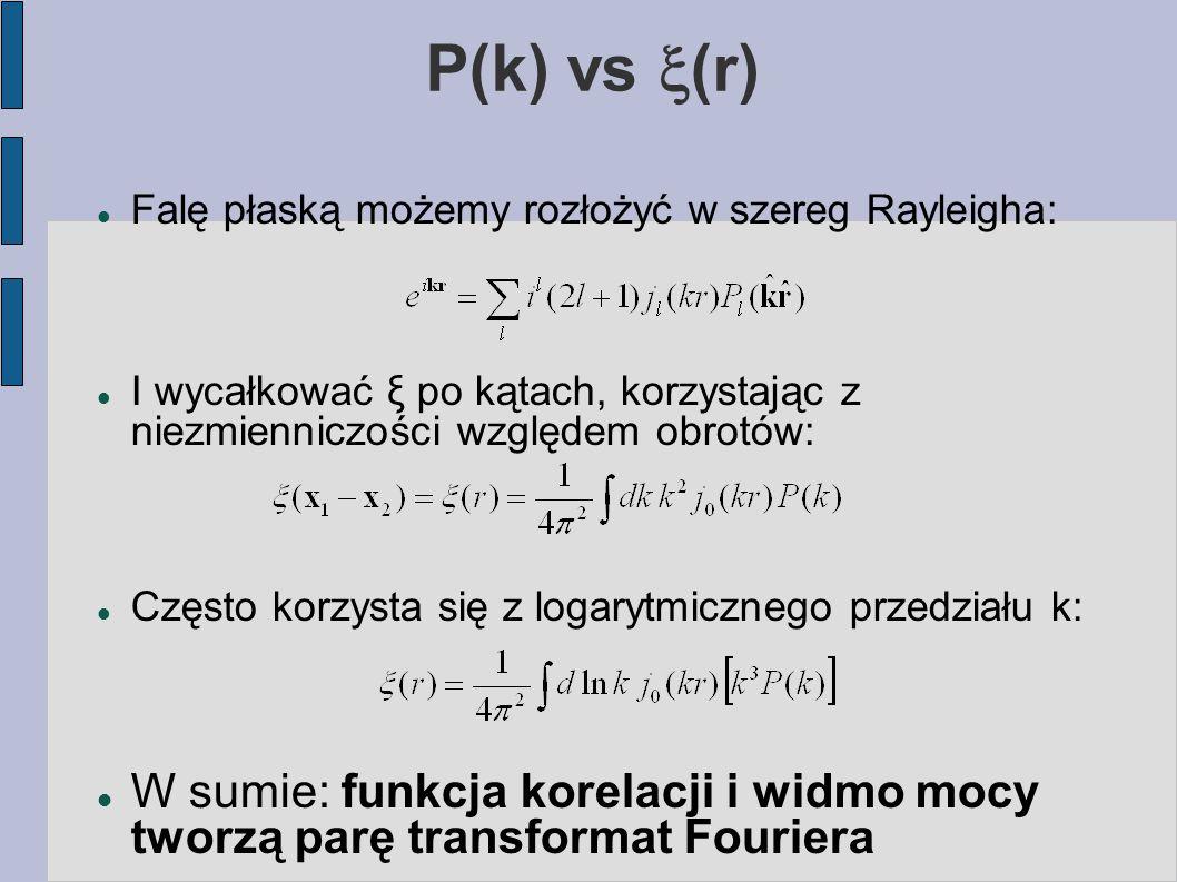 P(k) vs  (r) Falę płaską możemy rozłożyć w szereg Rayleigha: I wycałkować ξ po kątach, korzystając z niezmienniczości względem obrotów: Często korzy