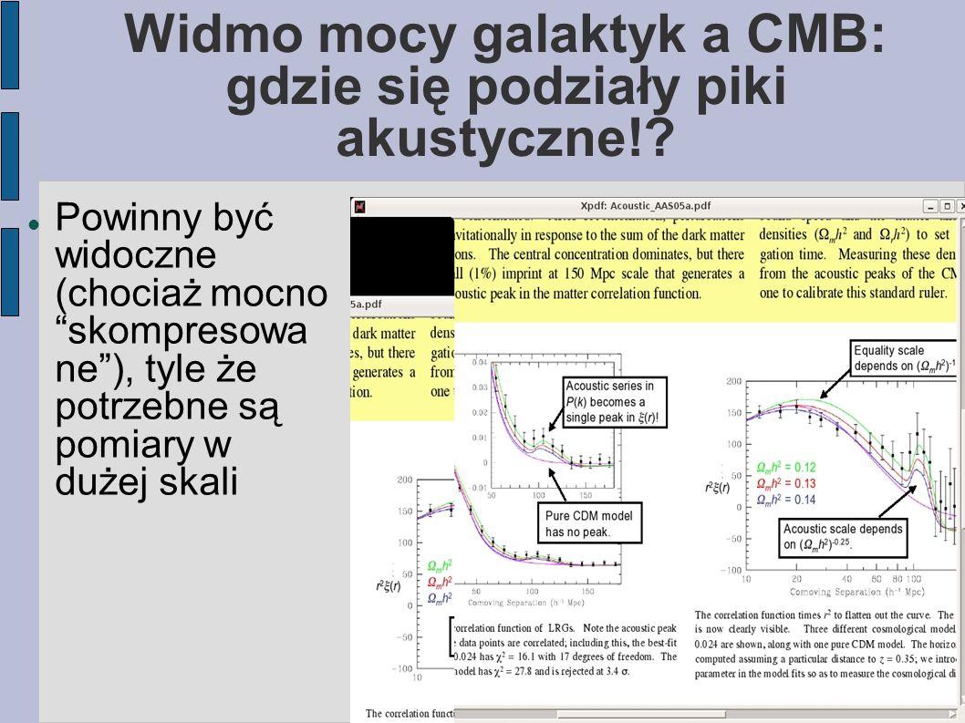 """Widmo mocy galaktyk a CMB: gdzie się podziały piki akustyczne!? Powinny być widoczne (chociaż mocno """"skompresowa ne""""), tyle że potrzebne są pomiary w"""