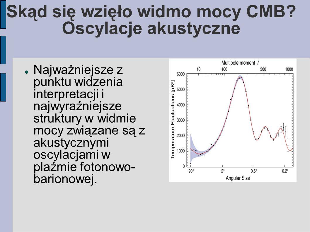 Skąd się wzięło widmo mocy CMB? Oscylacje akustyczne Najważniejsze z punktu widzenia interpretacji i najwyraźniejsze struktury w widmie mocy związane