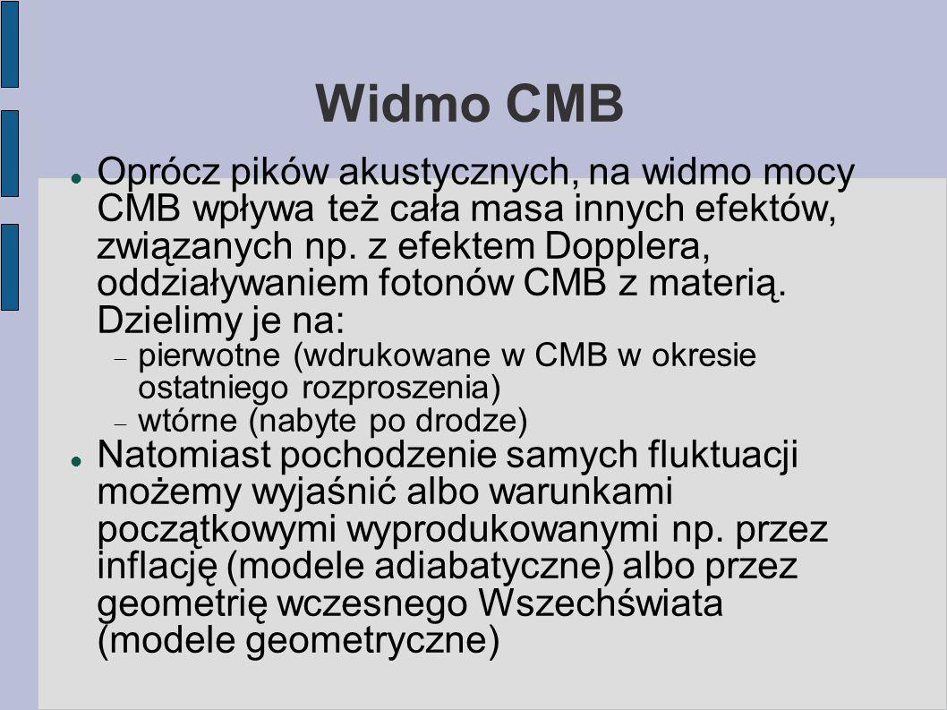 Widmo CMB Oprócz pików akustycznych, na widmo mocy CMB wpływa też cała masa innych efektów, związanych np.