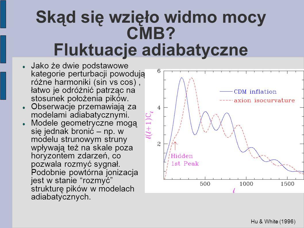 Skąd się wzięło widmo mocy CMB? Fluktuacje adiabatyczne Jako że dwie podstawowe kategorie perturbacji powodują różne harmoniki (sin vs cos), łatwo je