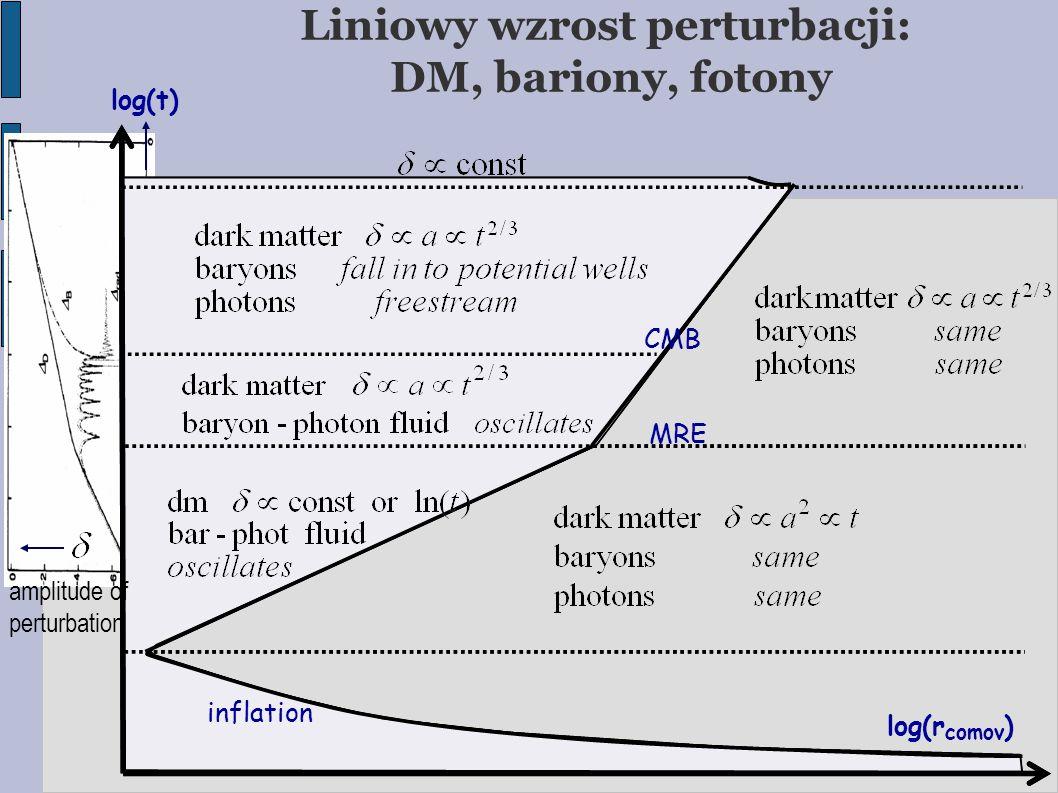 Liniowy wzrost perturbacji: DM, bariony, fotony CMB MRE log(t)  log(r comov )  inflation amplitude of perturbation