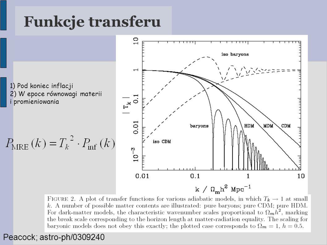 Funkcje transferu 1) Pod koniec inflacji 2) W epoce równowagi materii i promieniowania Peacock; astro-ph/0309240