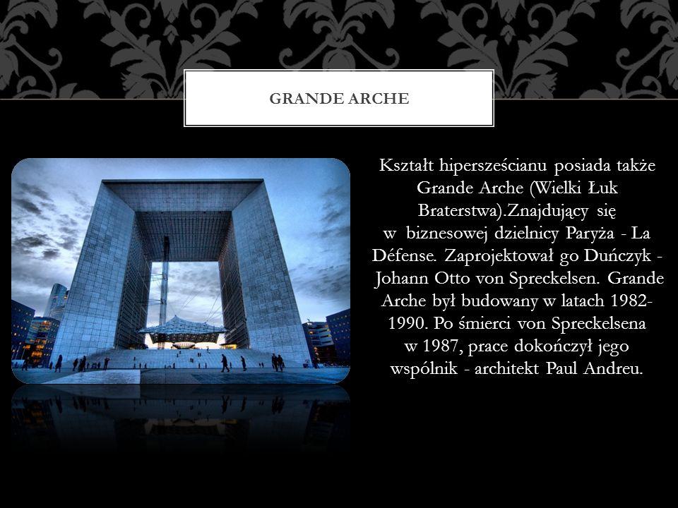 GRANDE ARCHE Kształt hipersześcianu posiada także Grande Arche (Wielki Łuk Braterstwa).Znajdujący się w biznesowej dzielnicy Paryża - La Défense. Zapr