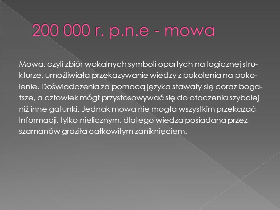 Mowa, czyli zbiór wokalnych symboli opartych na logicznej stru- kturze, umożliwiała przekazywanie wiedzy z pokolenia na poko- lenie.