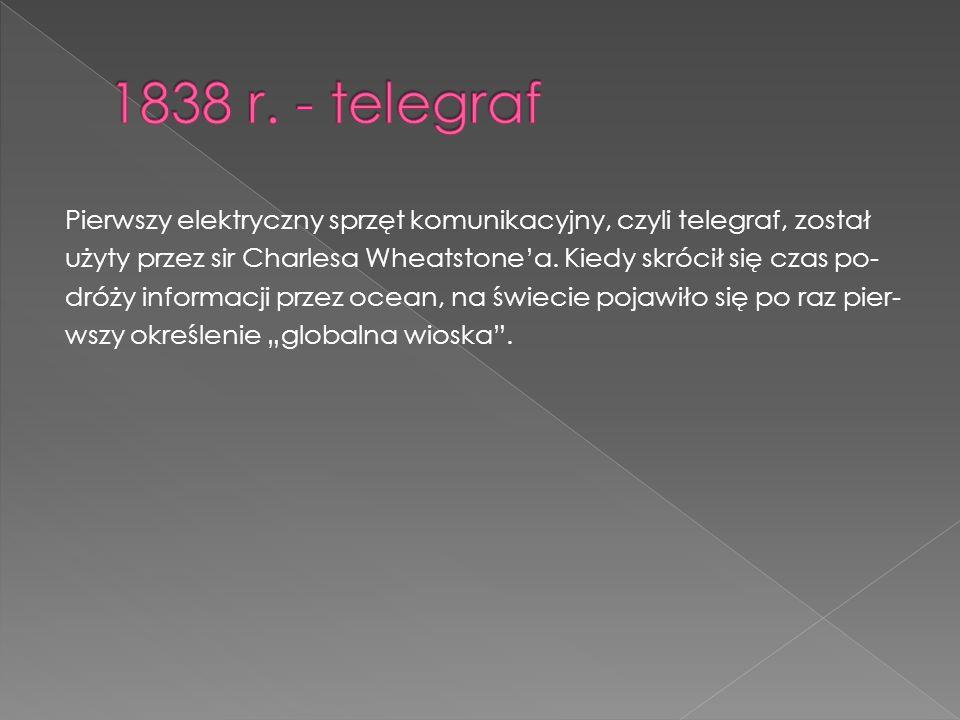 Pierwszy elektryczny sprzęt komunikacyjny, czyli telegraf, został użyty przez sir Charlesa Wheatstone'a.