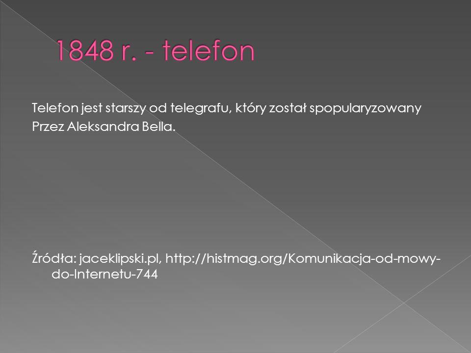 Telefon jest starszy od telegrafu, który został spopularyzowany Przez Aleksandra Bella.