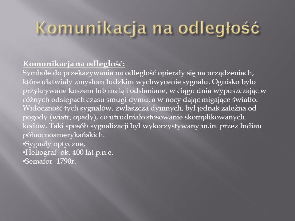 Komunikacja na odległość: Symbole do przekazywania na odległość opierały się na urządzeniach, które ułatwiały zmysłom ludzkim wychwycenie sygnału. Ogn