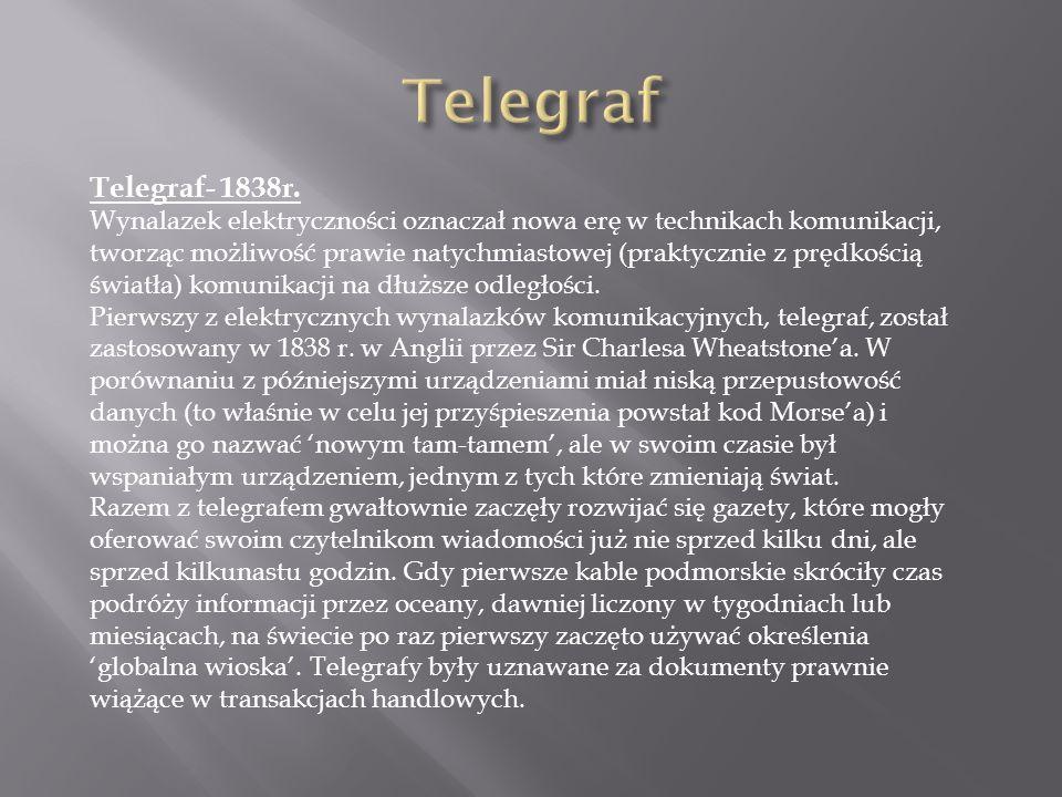 Telegraf- 1838r. Wynalazek elektryczności oznaczał nowa erę w technikach komunikacji, tworząc możliwość prawie natychmiastowej (praktycznie z prędkośc