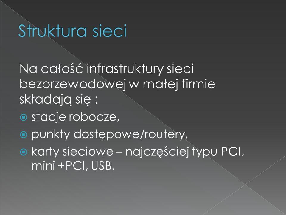 Na całość infrastruktury sieci bezprzewodowej w małej firmie składają się :  stacje robocze,  punkty dostępowe/routery,  karty sieciowe – najczęści