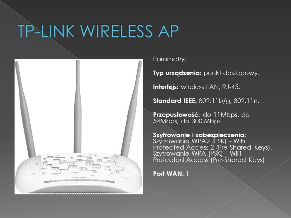 Parametry: Typ urządzenia: punkt dostępowy. Interfejs: wireless LAN, RJ-45. Standard IEEE: 802.11b/g, 802.11n. Przepustowość: do 11Mbps, do 54Mbps, do