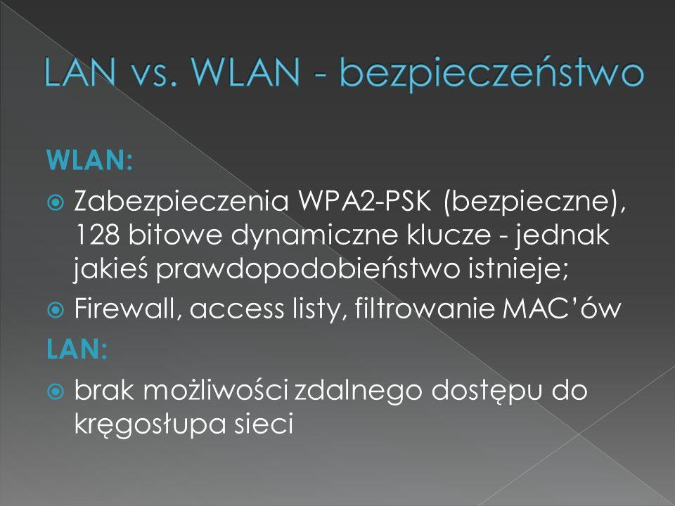 WLAN:  Zabezpieczenia WPA2-PSK (bezpieczne), 128 bitowe dynamiczne klucze - jednak jakieś prawdopodobieństwo istnieje;  Firewall, access listy, filt