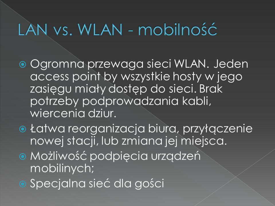  Ogromna przewaga sieci WLAN. Jeden access point by wszystkie hosty w jego zasięgu miały dostęp do sieci. Brak potrzeby podprowadzania kabli, wiercen