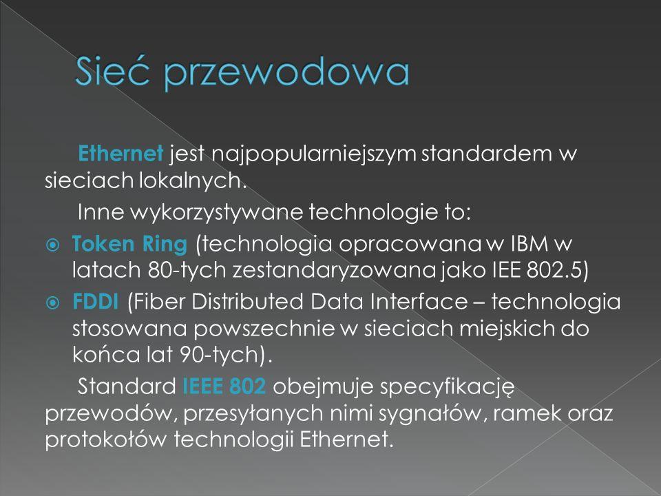 Ethernet jest najpopularniejszym standardem w sieciach lokalnych. Inne wykorzystywane technologie to:  Token Ring (technologia opracowana w IBM w lat