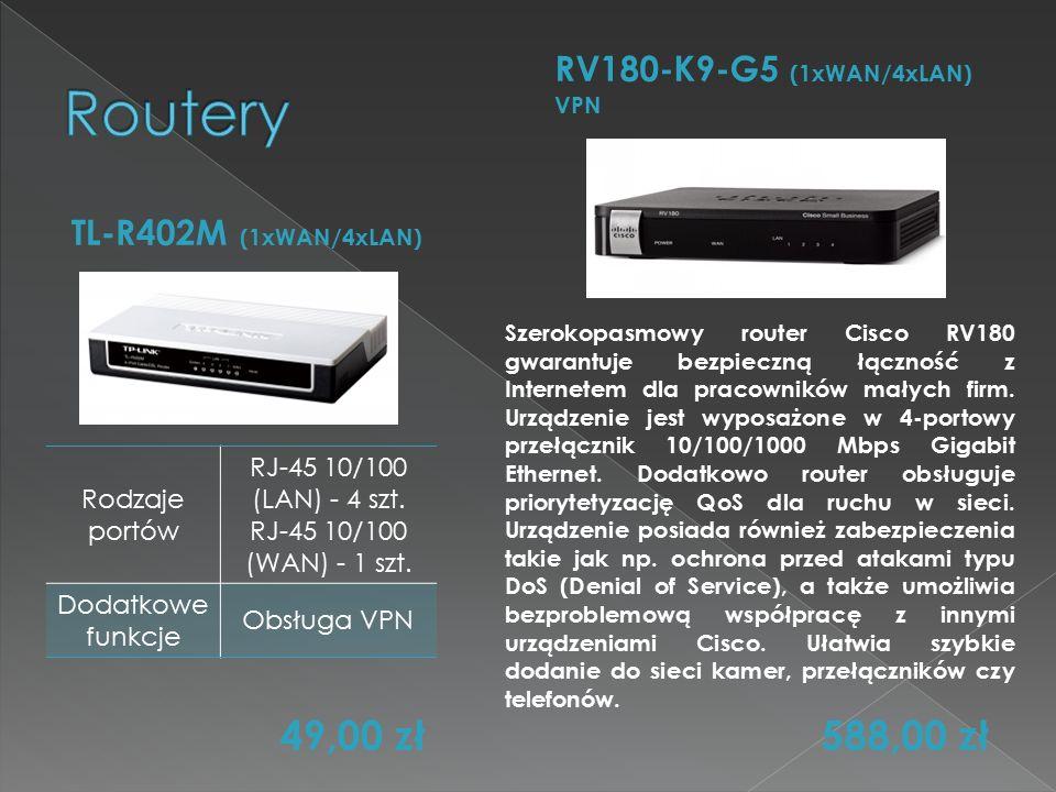 TL-R402M (1xWAN/4xLAN) RV180-K9-G5 (1xWAN/4xLAN) VPN Rodzaje portów RJ-45 10/100 (LAN) - 4 szt. RJ-45 10/100 (WAN) - 1 szt. Dodatkowe funkcje Obsługa