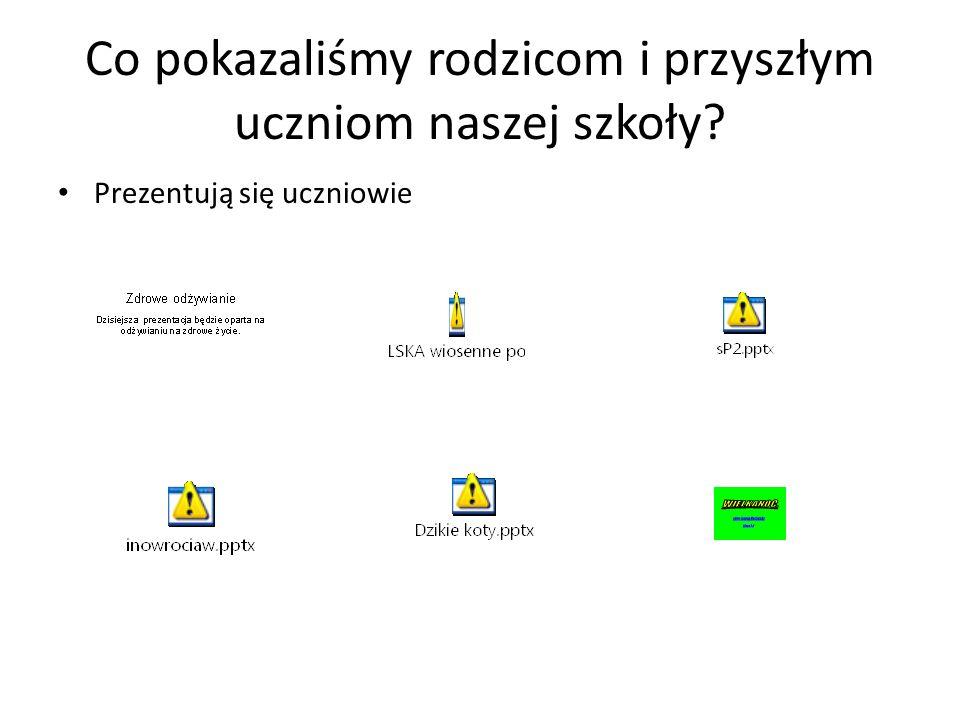 """Prezentacja projektu podczas drzwi otwartych 8 maja 2014r. nastąpiła prezentacja projektu """" Nasze wyzwania przedstawione na slajdach """"."""