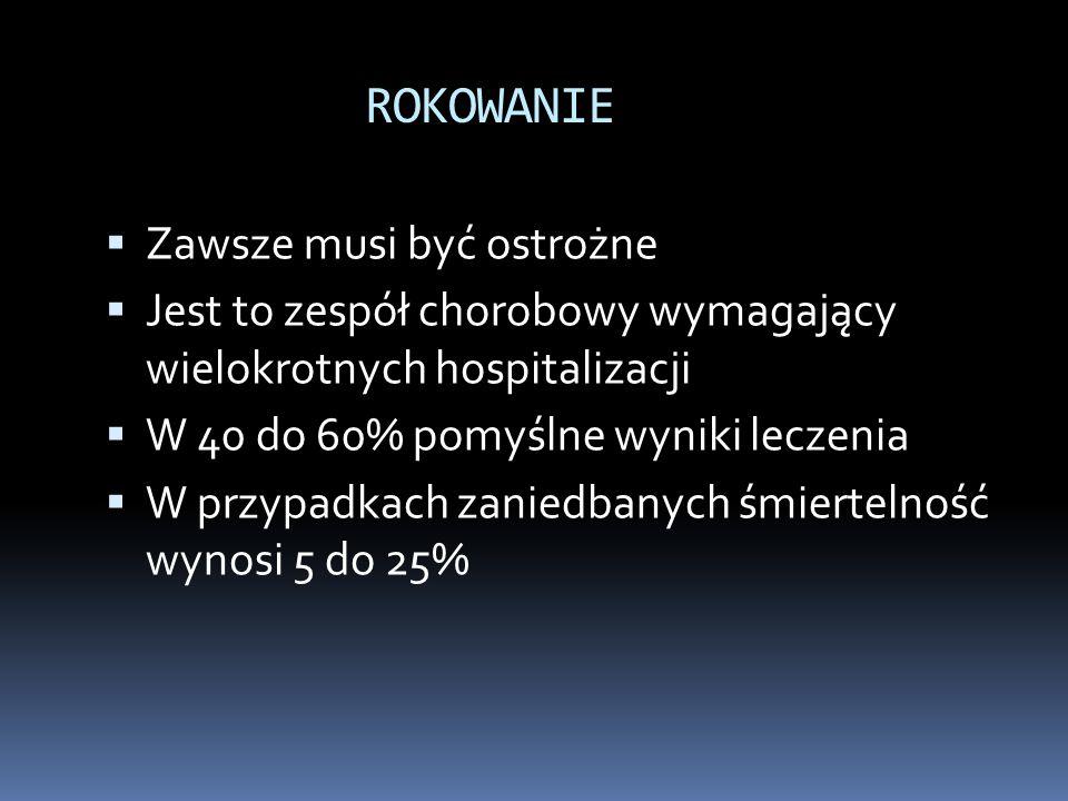 ROKOWANIE  Zawsze musi być ostrożne  Jest to zespół chorobowy wymagający wielokrotnych hospitalizacji  W 40 do 60% pomyślne wyniki leczenia  W prz