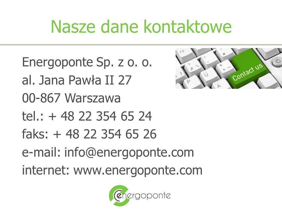 Nasze dane kontaktowe Energoponte Sp. z o. o. al.