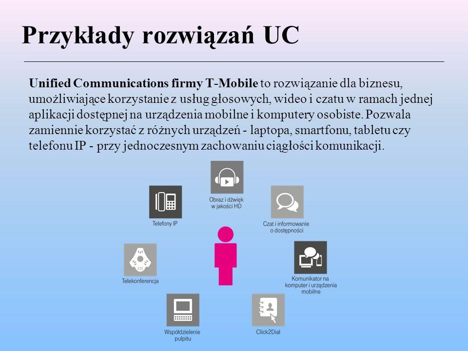 Przykłady rozwiązań UC Unified Communications firmy T-Mobile to rozwiązanie dla biznesu, umożliwiające korzystanie z usług głosowych, wideo i czatu w ramach jednej aplikacji dostępnej na urządzenia mobilne i komputery osobiste.