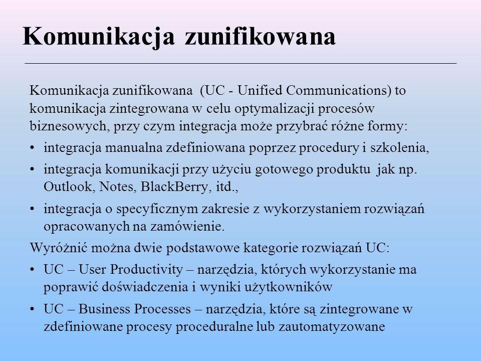 Komunikacja zunifikowana Komunikacja zunifikowana (UC - Unified Communications) to komunikacja zintegrowana w celu optymalizacji procesów biznesowych, przy czym integracja może przybrać różne formy: integracja manualna zdefiniowana poprzez procedury i szkolenia, integracja komunikacji przy użyciu gotowego produktu jak np.