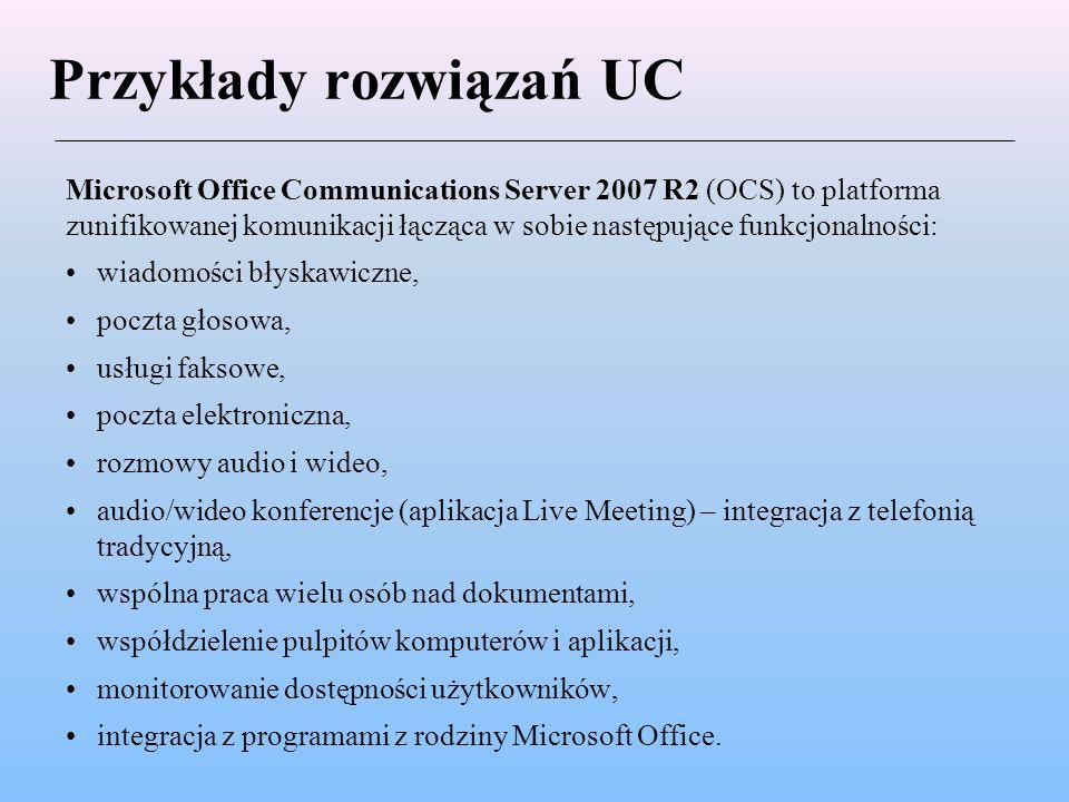 Przykłady rozwiązań UC Cisco Jabber to wieloplatformowe (Windows, Mac, iPhone, iPad, Nokia, Android, BlackBerry) rozwiązanie umożliwiające współpracę i efektywną komunikację z dowolnego miejsca na dowolnym urządzeniu, łączące w sobie następujące funkcjonalności: wiadomości błyskawiczne (czat prywatny i grupowy), połączenia głosowe i wideo poczta głosowa, audio/wideo konferencje, współdzielenie pulpitów komputerów, monitorowanie dostępności użytkowników (status widoczny jest również w systemach zewnętrznych dzięki zastosowaniu otwartego protokołu XMPP), integracja z programami z rodziny Microsoft Office.