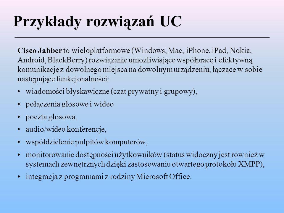 Przykłady rozwiązań UC Cisco Jabber to wieloplatformowe (Windows, Mac, iPhone, iPad, Nokia, Android, BlackBerry) rozwiązanie umożliwiające współpracę