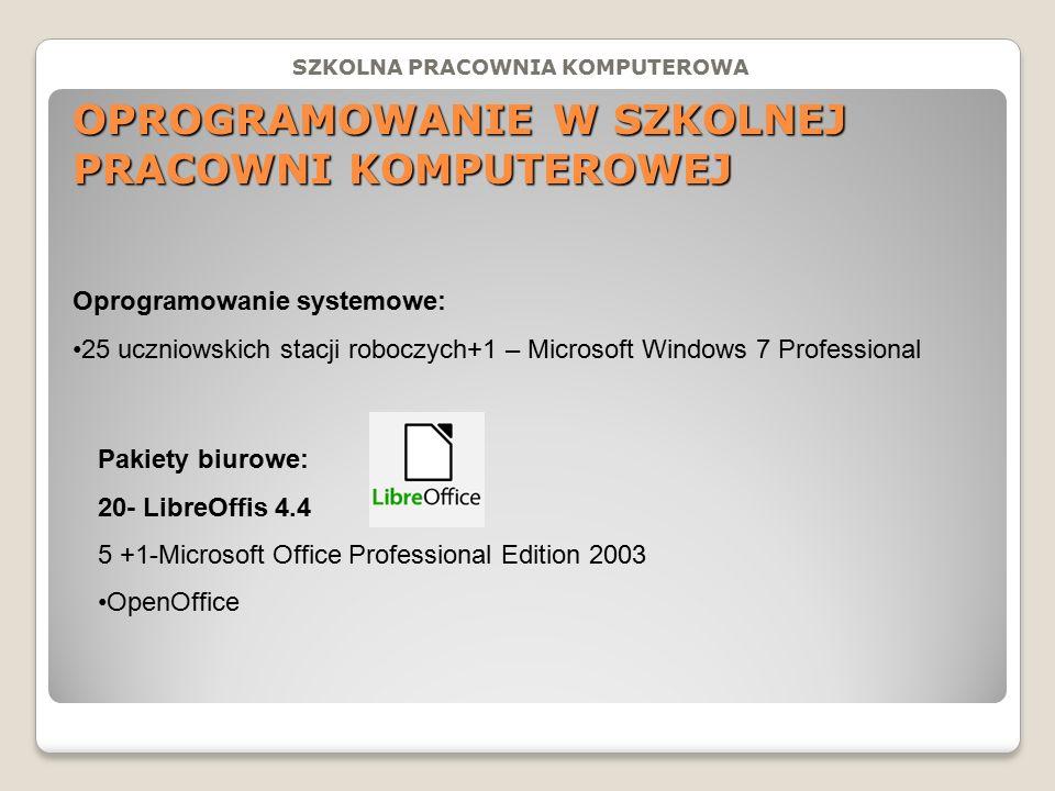 OPROGRAMOWANIE W SZKOLNEJ PRACOWNI KOMPUTEROWEJ Oprogramowanie systemowe: 25 uczniowskich stacji roboczych+1 – Microsoft Windows 7 Professional Pakiety biurowe: 20- LibreOffis 4.4 5 +1-Microsoft Office Professional Edition 2003 OpenOffice SZKOLNA PRACOWNIA KOMPUTEROWA