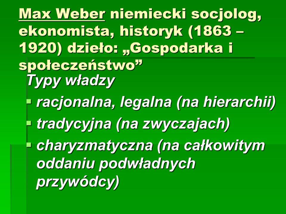 """Max Weber niemiecki socjolog, ekonomista, historyk (1863 – 1920) dzieło: """"Gospodarka i społeczeństwo Typy władzy  racjonalna, legalna (na hierarchii)  tradycyjna (na zwyczajach)  charyzmatyczna (na całkowitym oddaniu podwładnych przywódcy)"""