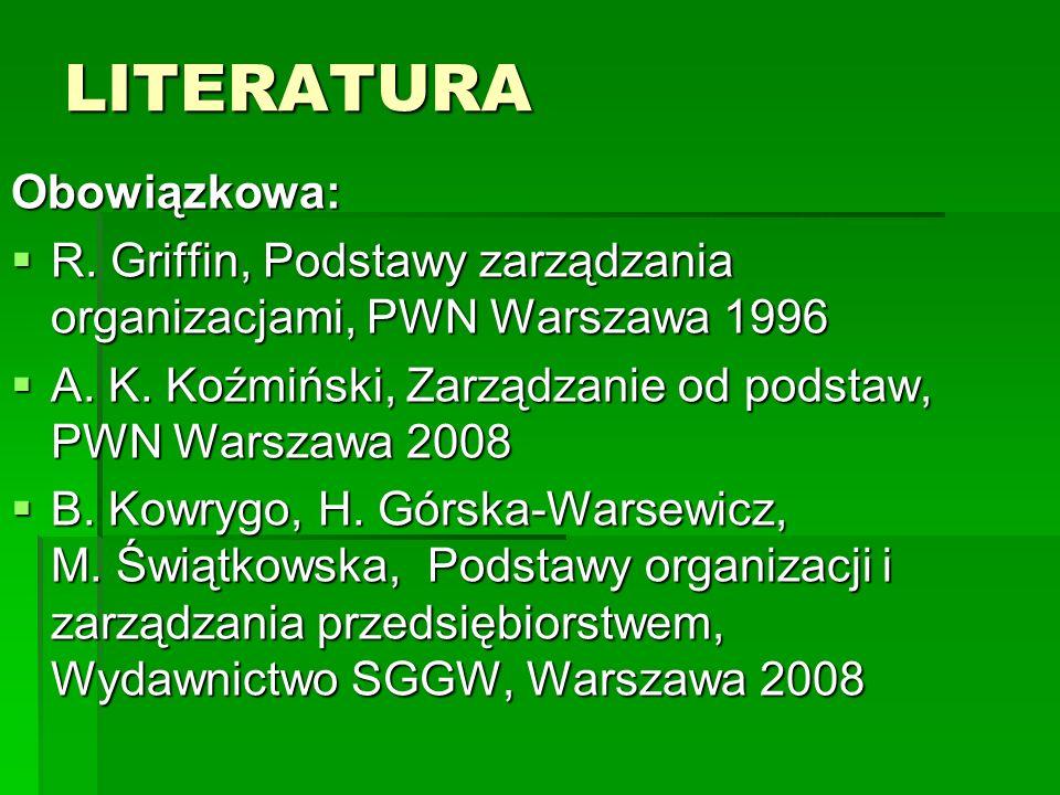 LITERATURA Obowiązkowa:  R.Griffin, Podstawy zarządzania organizacjami, PWN Warszawa 1996  A.