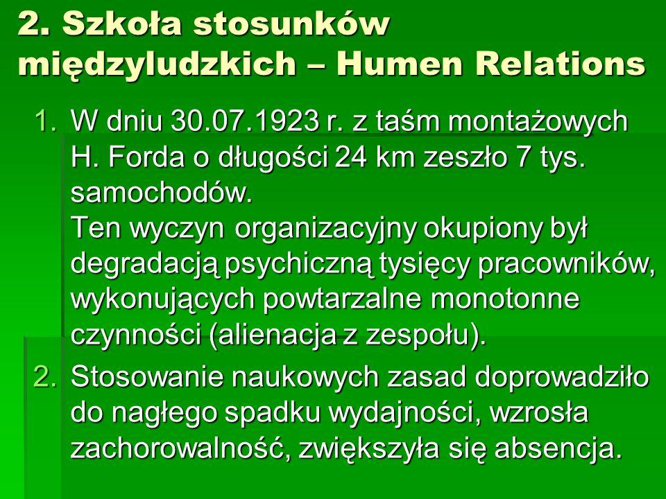 2.Szkoła stosunków międzyludzkich – Humen Relations 1.W dniu 30.07.1923 r.