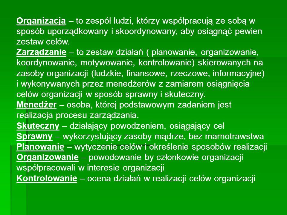 Organizacja – to zespół ludzi, którzy współpracują ze sobą w sposób uporządkowany i skoordynowany, aby osiągnąć pewien zestaw celów.