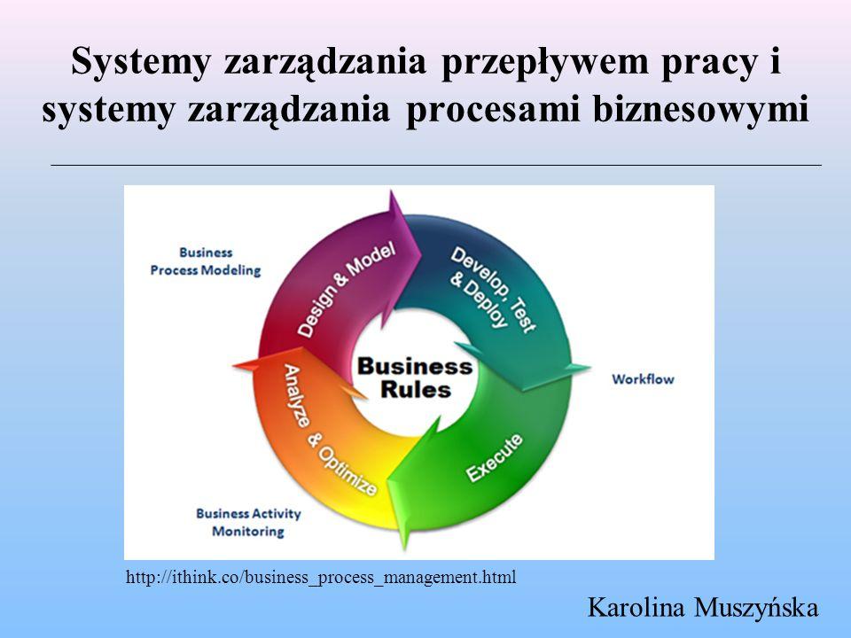 Systemy zarządzania przepływem pracy i systemy zarządzania procesami biznesowymi Karolina Muszyńska http://ithink.co/business_process_management.html