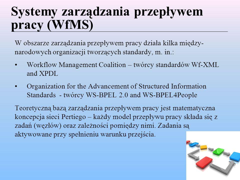 Systemy zarządzania przepływem pracy (WfMS) W obszarze zarządzania przepływem pracy działa kilka między- narodowych organizacji tworzących standardy, m.
