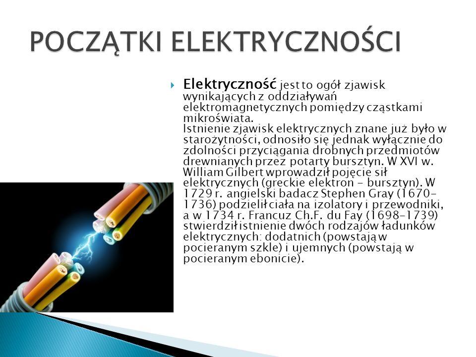  Elektryczność jest to ogół zjawisk wynikających z oddziaływań elektromagnetycznych pomiędzy cząstkami mikroświata.