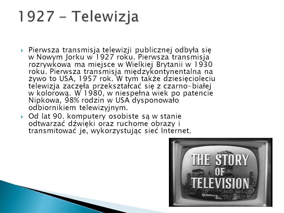  Pierwsza transmisja telewizji publicznej odbyła się w Nowym Jorku w 1927 roku.